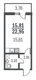 1-комнатная квартира на продажу (23,0 м<sup>2</sup>)