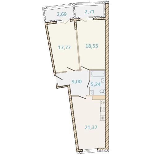 2-комнатная квартира на продажу (77,6 м<sup>2</sup>)
