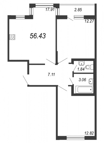 3-комнатная квартира на продажу (56,4 м<sup>2</sup>)