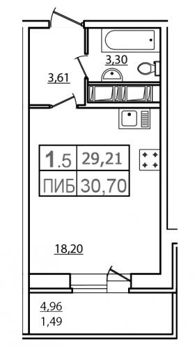1-комнатная квартира на продажу (28,2 м<sup>2</sup>)