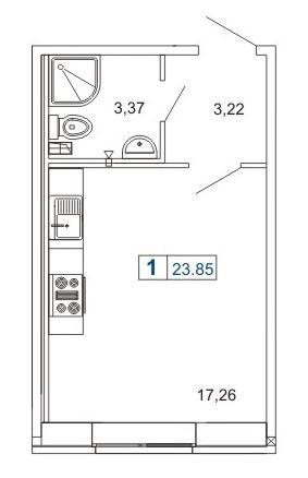 1-комнатная квартира на продажу (23,9 м<sup>2</sup>)