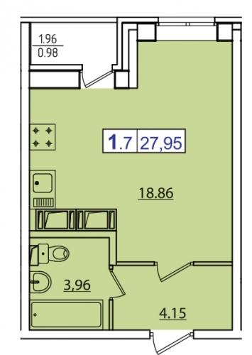 1-комнатная квартира на продажу (28,0 м<sup>2</sup>)
