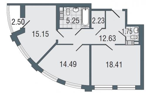 2-комнатная квартира на продажу (69,9 м<sup>2</sup>)