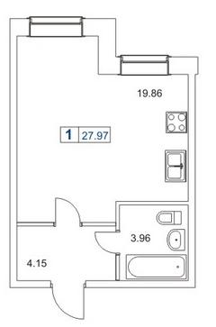 1-комнатная квартира на продажу (28,3 м<sup>2</sup>)