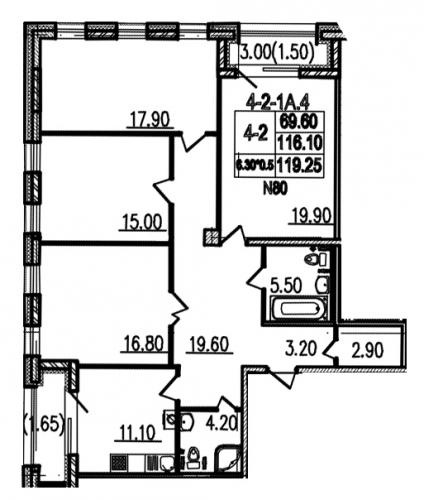 4-комнатная квартира на продажу (118,8 м<sup>2</sup>)