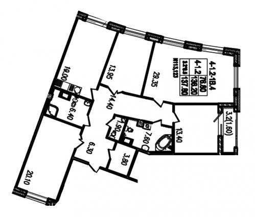 4-комнатная квартира на продажу (137,2 м<sup>2</sup>)