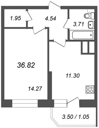 1-комнатная квартира на продажу (36,8 м<sup>2</sup>)