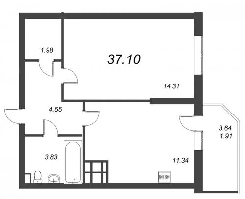 1-комнатная квартира на продажу (37,1 м<sup>2</sup>)