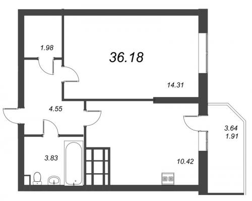 1-комнатная квартира на продажу (36,2 м<sup>2</sup>)