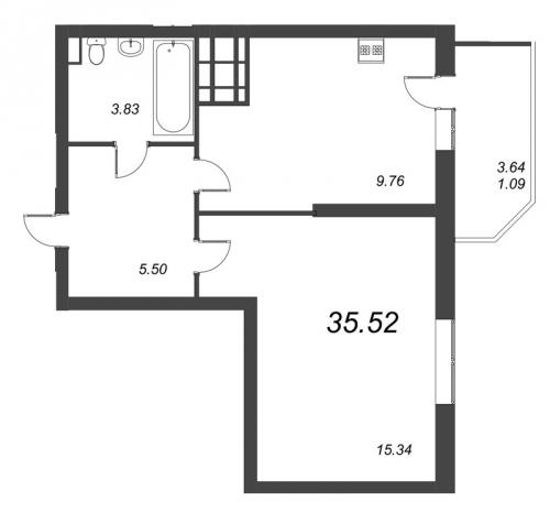 1-комнатная квартира на продажу (35,5 м<sup>2</sup>)