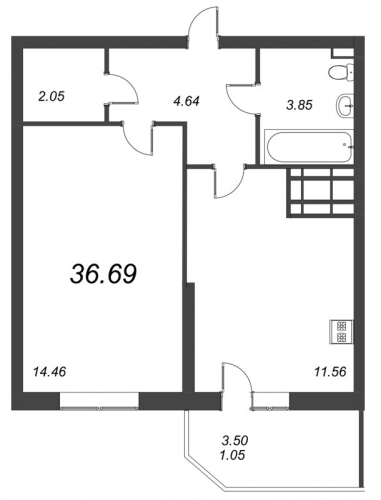 1-комнатная квартира на продажу (36,7 м<sup>2</sup>)