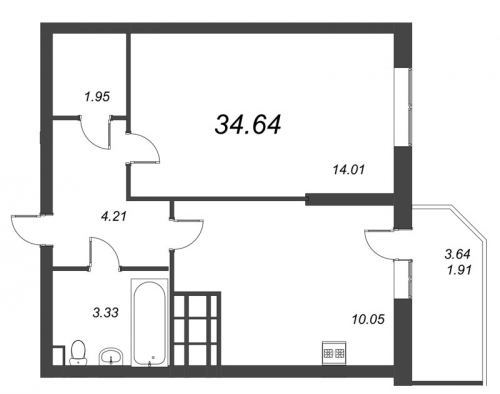 1-комнатная квартира на продажу (34,6 м<sup>2</sup>)