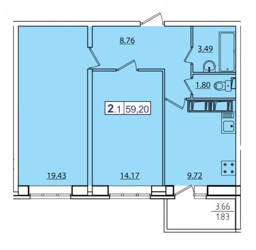2-комнатная квартира на продажу (59,2 м<sup>2</sup>)