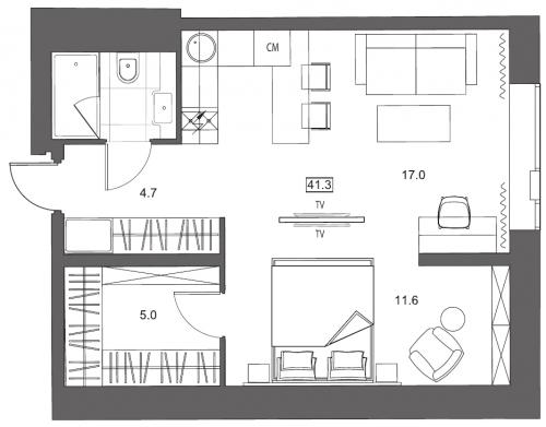 1-комнатная квартира на продажу (41,3 м<sup>2</sup>)