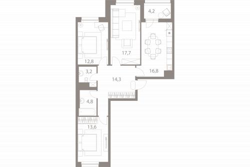 3-комнатная квартира на продажу (85,3 м<sup>2</sup>)