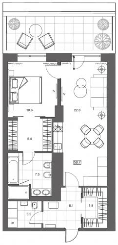 2-комнатная квартира на продажу (63,7 м<sup>2</sup>)