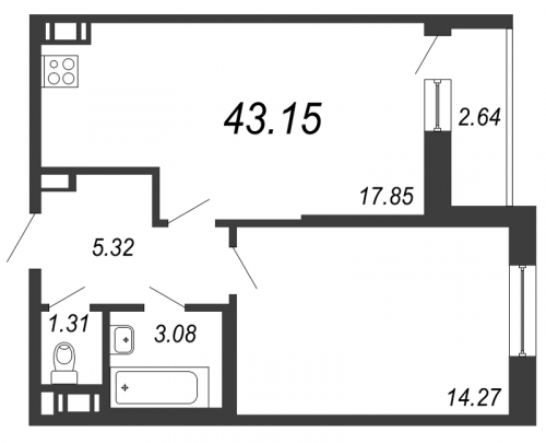 2-комнатная квартира на продажу (43,2 м<sup>2</sup>)