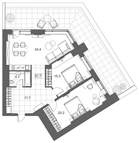 3-комнатная квартира на продажу (94,9 м<sup>2</sup>)
