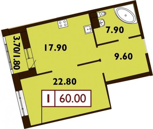 1-комнатная квартира на продажу (60,8 м<sup>2</sup>)