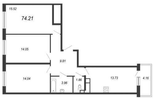 3-комнатная квартира на продажу (74,2 м<sup>2</sup>)