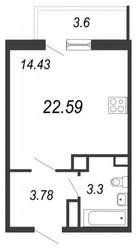 1-комнатная квартира на продажу (22,6 м<sup>2</sup>)