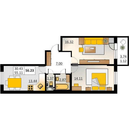 2-комнатная квартира на продажу (56,2 м<sup>2</sup>)