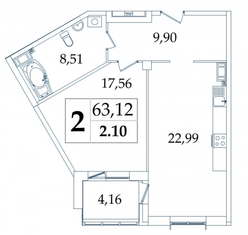2-комнатная квартира на продажу (63,1 м<sup>2</sup>)
