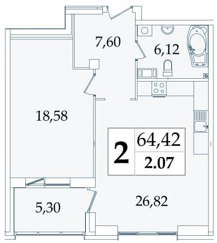 2-комнатная квартира на продажу (63,5 м<sup>2</sup>)