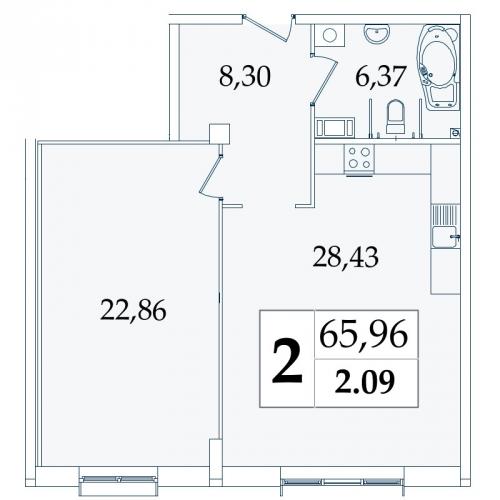 2-комнатная квартира на продажу (66,7 м<sup>2</sup>)