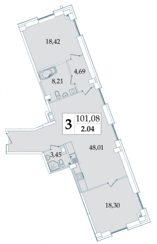 3-комнатная квартира на продажу (99,0 м<sup>2</sup>)