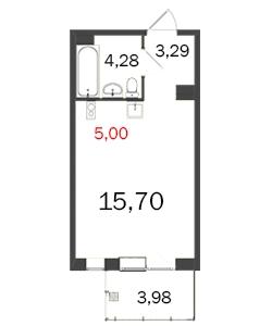 1-комнатная квартира на продажу (30,3 м<sup>2</sup>)