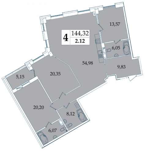 4-комнатная квартира на продажу (143,7 м<sup>2</sup>)