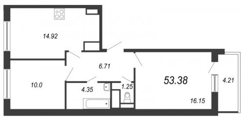 3-комнатная квартира на продажу (53,4 м<sup>2</sup>)