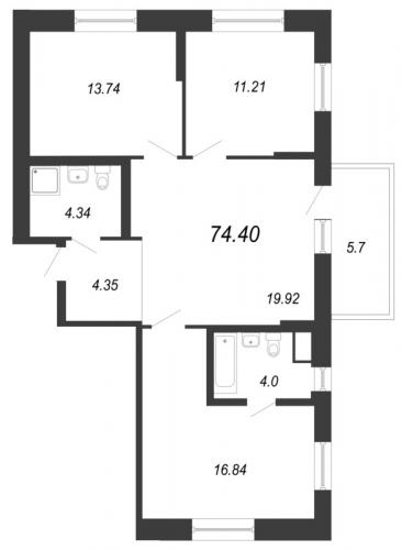 4-комнатная квартира на продажу (74,4 м<sup>2</sup>)