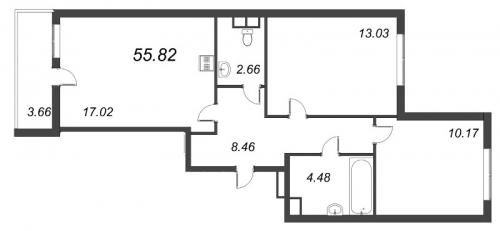 3-комнатная квартира на продажу (55,8 м<sup>2</sup>)