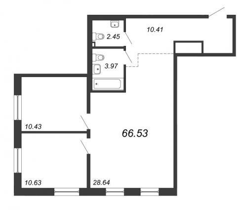 3-комнатная квартира на продажу (66,5 м<sup>2</sup>)