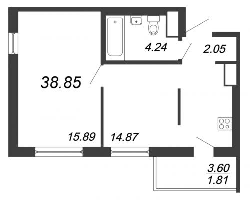 2-комнатная квартира на продажу (38,9 м<sup>2</sup>)