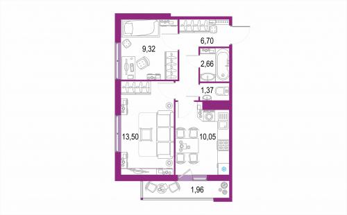 2-комнатная квартира на продажу (45,6 м<sup>2</sup>)