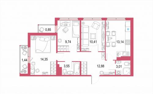 3-комнатная квартира на продажу (69,4 м<sup>2</sup>)