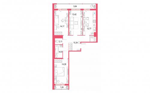 3-комнатная квартира на продажу (81,0 м<sup>2</sup>)
