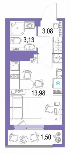 1-комнатная квартира на продажу (21,7 м<sup>2</sup>)
