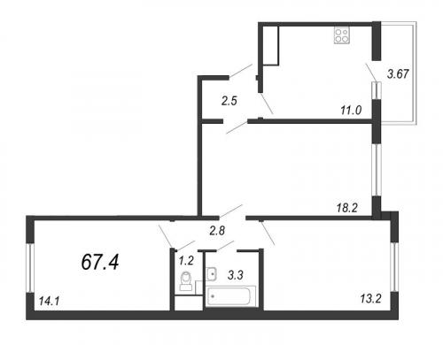 3-комнатная квартира на продажу (67,4 м<sup>2</sup>)