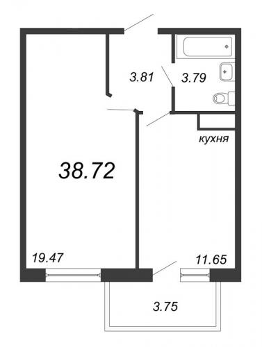 1-комнатная квартира на продажу (38,7 м<sup>2</sup>)