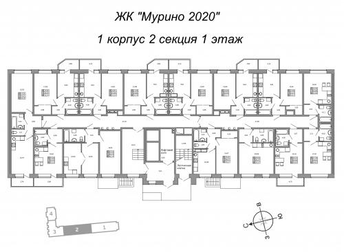1-комнатная квартира на продажу (35,4 м<sup>2</sup>)