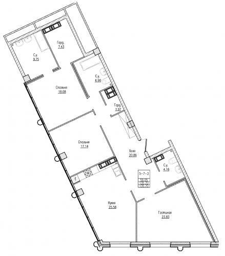 3-комнатная квартира на продажу (135,7 м<sup>2</sup>)