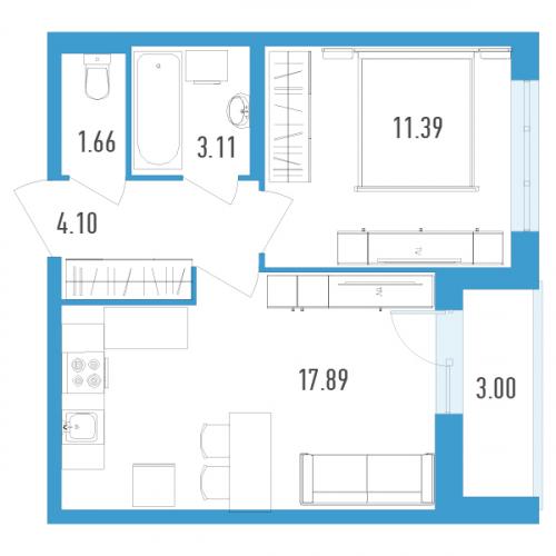 1-комнатная квартира на продажу (39,0 м<sup>2</sup>)
