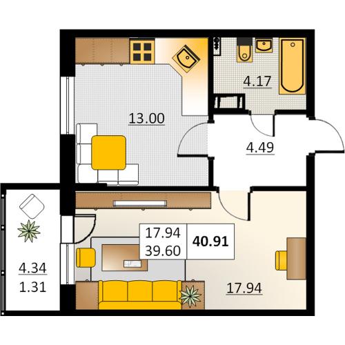 1-комнатная квартира на продажу (40,9 м<sup>2</sup>)