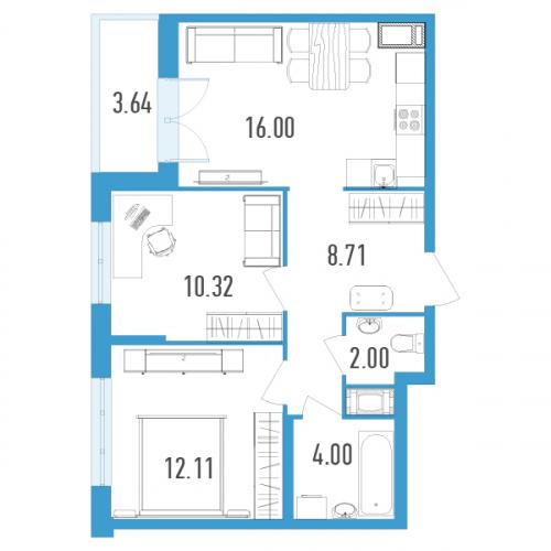 2-комнатная квартира на продажу (54,0 м<sup>2</sup>)