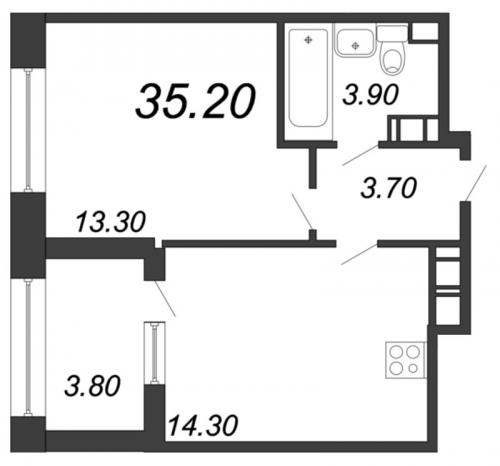2-комнатная квартира на продажу (35,2 м<sup>2</sup>)