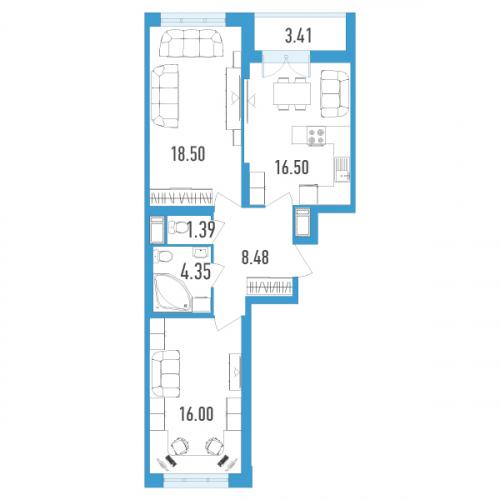 2-комнатная квартира на продажу (66,0 м<sup>2</sup>)